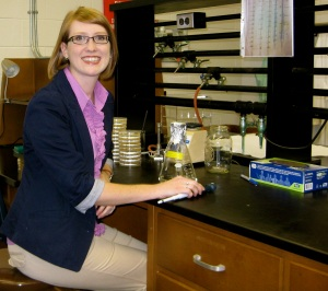 Dr. Sarah Lee working in her lab